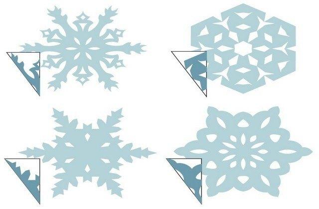 вырезаем снежинки разные